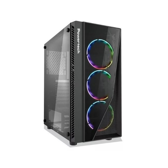 Product Image - POWERTECH Gaming case PT-743, tempered glass, 4x 120mm fans (3x RGB) - Πραξη ΕΠΕ - Praxi Ltd
