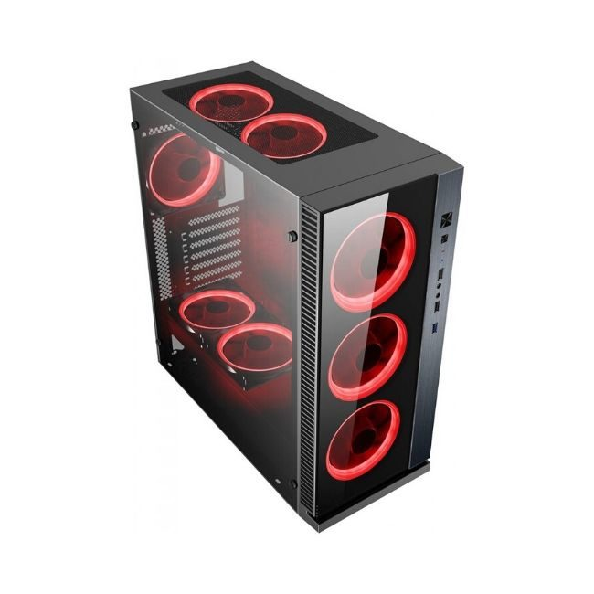 Product Image - POWERTECH Gaming case PT-903, tempered glass, 4x Dual ring RGB fans - Praxi LTd - Πραξη ΕΠΕ